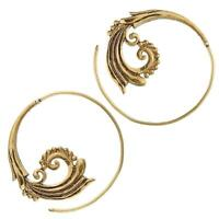 Spiralen Ohrringe Ornamente Messing Brass antik golden nickelfrei Piercing Triba