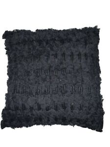 """Lucky Brand Shaggy 18"""" Square Decorative Pillow Black"""