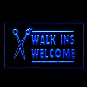160021 WALK INS WELCOME Haircut Curl Treatment Display LED Light Neon Sign