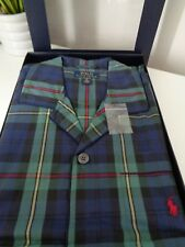 Polo Ralph Lauren Pyjamas Green Blue Plaid Pattern Cotton Pyjama Set size M