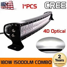 4D+ 32''INCH 180W Curved CREE LED Light Bar Spot Flood Offroad Driving 4WD Truck