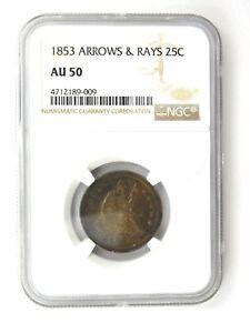 1853 Arrows & Rays Seated Liberty Quarter NGC Graded AU 50 (348)