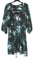 City Chic Size L 20 Black Teal Floral Dress Relaxed Fit Tie Waist 3/4 Sleeve