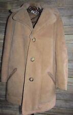 Vntg Nordstrom Sheepskin Wool Suede Shearling Parka Coat Jacket Sz L 38 France