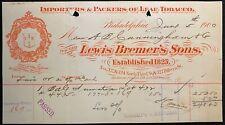 1900  *LEWIS BREMER'S SONS* PHILADELPHIA, PA. VIGNETTE {COLOR} RECEIPT/BILLHEAD!