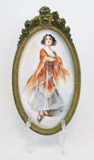 Antique Hand Painted Spanish Lady Flamenco Dancer Porcelain Framed Tile