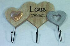 LOVE Coat Key Towel Rack 3 Hooks 32320HNG Custom Wood MDF & Metal Hook BNIB
