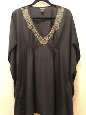 Ella Moss Black Embroidered Sequin Kaftan Sleeve Cover Up Tunic Dress L