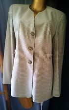 LOUIS FERAUD Striped Blazer Beige Jacket Coat Sz 10
