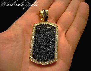 NEW$199 CUSTOM 14K GOLD GP ICED SIMULATE BLACK DIAMOND OUT DOG TAG CHARM PENDANT