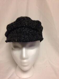 Nine West Newsboy Boucle Cap Hat One Size  #4788 Black NWT