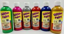 6 X 200ml GLITTER Paint Childrens Ready Mixed Non Toxic Kids Paints Bottles