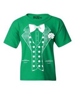 White Shamrock Tuxedo Costume Youth's T-Shirt Saint Patrick's Day Irish Shirts