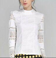 White Crochet Lace Victorian Regal Summer  Designer Blouse Classic Shirt 8 10