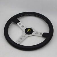 350mm Racing Steering Wheel Plate Silver Plated Spoke Leather Universal