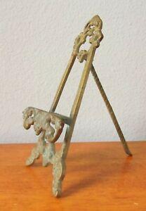 "Vintage Ornate Brass Easel Stand Display Photo Art Business Card Holder 7.5"""