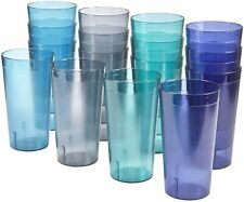 16 Plastic Drinking Tumbler Set Glasses Water Soda Pop Ice Tea Juice Cup 20 oz.