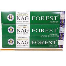 3 X GOLDEN NAG CHAMPA FOREST Incense/Joss Sticks Natural Spices, Herbs, Oils 45g