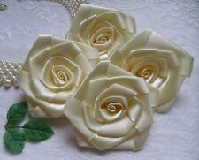 "3"" Wedding Light Ivory Satin Ribbon Roses Large Flowers -Lots 10 Pcs-R0024I"
