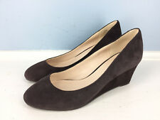 Nine West 5.5 Brown Suede Leather Round Toe Wedge Heels Career Cocktail EUC