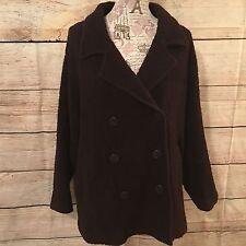 Eileen Fisher peacoat coat jacket brown maroon burgundy wool SZ L XL winter EUC
