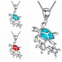 mode elegantes geschenk frauen kette sea turtle - anhänger schmuck opal - kette