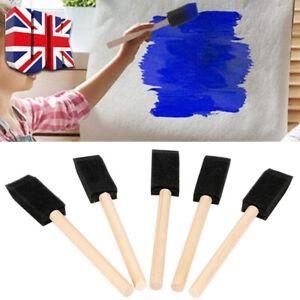 20X 1'' Foam Sponge Brushes Wooden Handle Painting Drawing Craft Draw UK
