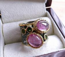 925 SILVER PINK RUBY CHROME DIOPSIDE BLACK RHODIUM GOLD BAND RING SZ N 7