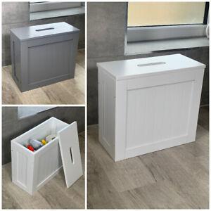 Dylex™ White, Grey Crisp Toilet Cleaning Product Storage Tidy Box Unit Bathroom