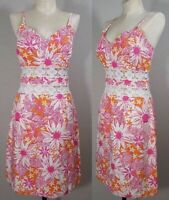 LILLY PULITZER Slip Dress Size 4 Sleeveless Floral Lace Peekaboo Pink Resort