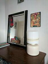 Vintage retro olive green Lamp  glass STRIPE MINIMALIST MUSHROOM MODERN VIBE