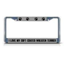I Love My Soft Coated Wheaten Terrier Metal License Plate Frame Two Holes