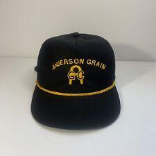 VTG K Products Anderson Grain Trucker Farmer Rope Hat Cap Black Strapback Buckle