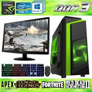 Fast Gaming PC Computer Bundle Intel Quad Core i7 1TB 16GB 2GB GT710 Windows 10✅