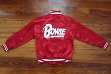 David Bowie red satin bomber jacket top size SMALL lightning bolt blazer shirt