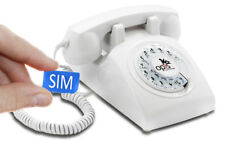 Table Phone OPIS 60s Mobile: Retro/Vintage GSM Desk Phone with Dial White