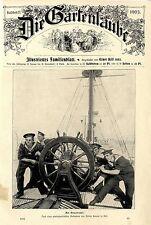 Marineleben Matrosen am Steuerruder. Histor.Titelblatt-Fotographie von 1903