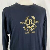 Polo Jeans Co Ralph Lauren Long Sleeve T-Shirt Large Navy Blue Crest Distressed