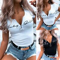 Women's Zipper V Neck Short Sleeve Tops T-Shirt Ladies Casual Slim Fit Blouse