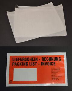 Lieferscheintaschen Dokumententaschen transparent  C4 C5 C6 DIN Lang