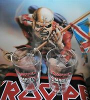 IRON MAIDEN TROOPER PINT GLASSES X 2  - NEW AND UNUSED  PLUS 5 X BEERMATS