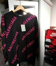 BALENCIAGA Allover Logo Knit Sweater Black Pink Jumper MINT NEW