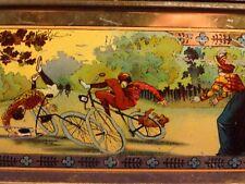 Ancienne rare boîte tôle fer Hollande sport équitation vélo barque pêche 1910