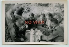 WWII ORIGINAL WAR PHOTO GERMAN ELITE DIVISION SOLDIERS W LADIES have a PARTY
