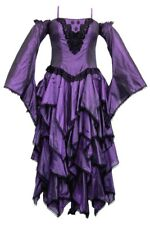 Dark Star Faux Silk Tiered Cascade Dress Ball Gown Gothic Steampunk  FREESIZE
