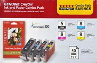 Genuine Canon PGI 5 Black CLI 8 C/M/Y Ink Cartridges set of 4+Paper Combo Pack