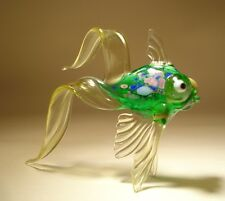 Blown Glass Figurine Green and Clear Telescope FISH