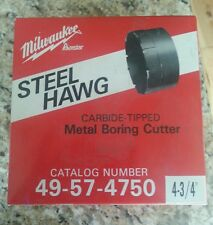 "MILWAUKEE STEEL HAWG CARBIDE TIPPED METAL BORING CUTTER 49-57-4750 4-3/4"""
