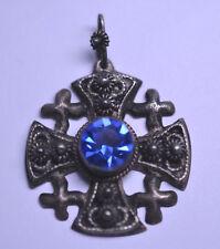 VINTAGE STERLING 950 SILVER JERUSALEM CROSS PENDANT OR CHARM W/ BLUE GLASS STONE