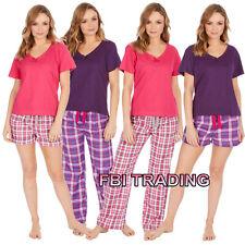 Womens Ladies Pyjamas lounge sets t shirt top and shorts or pants Holiday Summer